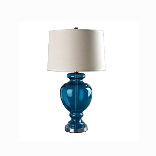 WZHZJ Blue Gourd Vase Glass Table Lamp for Living Room Bedroom Bedside Lamp Plug Art Deco