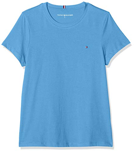 Tommy Hilfiger New Crew Neck Tee Pull De Sport, Bleu (Blue C39), 90 (Taille Fabricant: X-Large) Femme