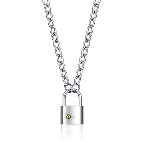 Lock Pendant Necklace Punk Style Padlock Necklaces for Women Mens Silver Rose Gold Plated (Silver)