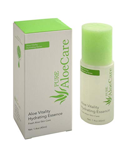 PURE AloeCare Organic Aloe Vera Vitality Hydrating Essence, Penetrates Skin Deeply with Essential Moisture and Skin Loving Botanical Nutrients for All Day Moisture,1.4 oz (40ml)