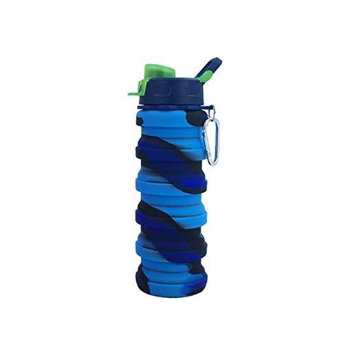 Jusemao Ciclismo al aire libre Deportes creativos plegable portátil taza de agua 500ml adecuado para alpinismo, fitness y otras ocasiones - Camuflaje azul_500ml