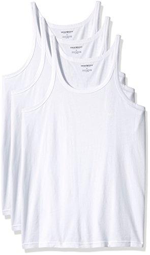 Emporio Armani Herren 3-Pack Tank Top Regular Fit Unterhemd, Wei, X-Groß (3er Pack)