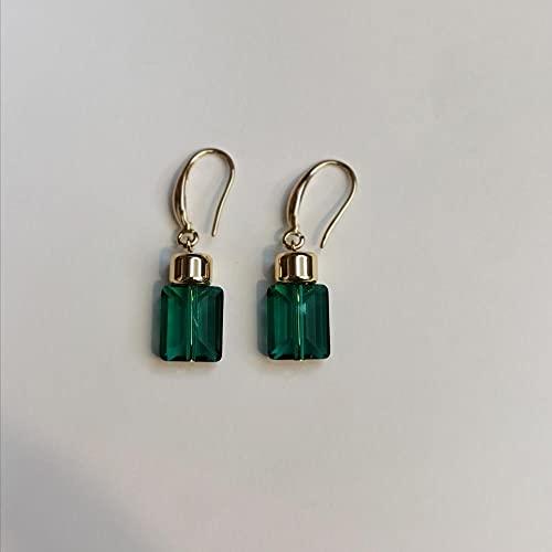 VIQNJ Cristal pequeño C fragante Botella de Agua Forma Pendientes 14K Paquete Oro Pendientes Moda-Verde