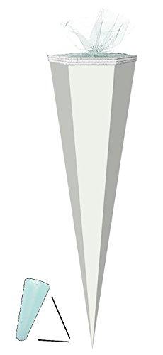 alles-meine.de GmbH Schultüte Rohling - Weiß - 85 cm / Tüllabschluß - Zuckertüte - zum Basteln, Bemalen und Bekleben Bastelschultüte