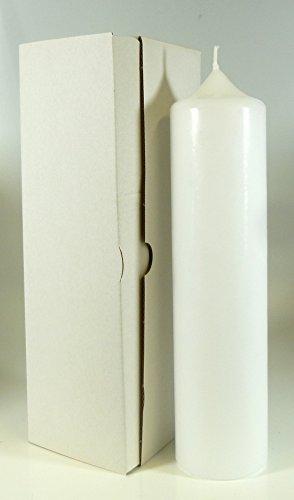 Stumpenkerze weiss 25 x 6 cm, mit Karton zur Aufbewahrung - 4803 - Kerzenrohling 250x60 mm zum Basteln und Verzieren