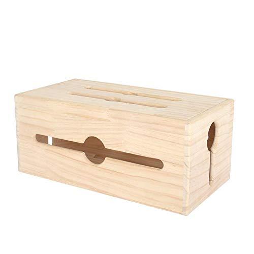 JCNFA Houten koord-organizer, kabel-managementbox, stekkerdoos, kabel, USB-hub, voor desktop Home Office, 4 maten 13.77 * 7.08 * 5.90in wood