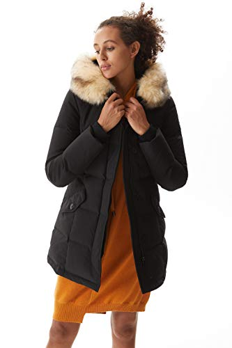 Molemsx Winter Jacket for Women, Women's Padded Jacket Coats for Women Winter Sale Hooded Thickened Long Jacket Warm Puffer Coat for Cold Weather Parka Jacket with Fur Hood Black Small