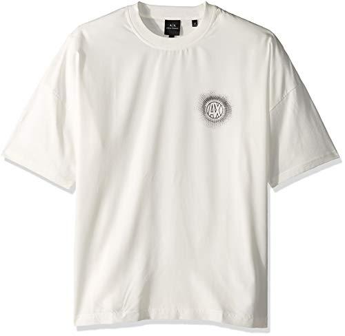 Armani Exchange AX Herren Boxy Short Sleeve Jumper Sweatshirt, weiß, Mittel