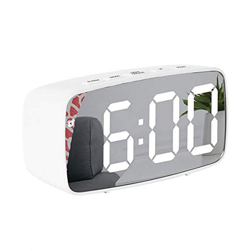 FIONAT Reloj Despertador Espejo Digital Led Control De Voz Posponer Tiempo Pantalla De Temperatura Modo Nocturno Reloj De Cabecera Silenciar Despertadores para Dormitorio Oficina-A