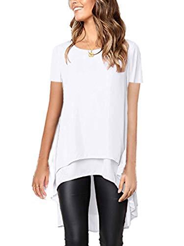 MISSLOOK Women's Lantern Long Sleeve Tops High-Low Hem Tunic Round Neck Asymmetrical Irregular Hem Casual Blouse Shirt Dress - White-3 XL