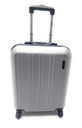 Trolley Ryanair Priority idoneo cm.55x40x20 ABS rigido 4 Ruote Bagaglio a mano Low cost (ARGENTO)