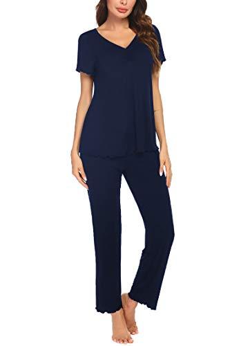 MAXMODA Conjunto de pijama para mujer, de manga larga y manga corta, dos piezas, pantalones largos y tops suaves, conjuntos de tallas S-XXL Azul marino de manga corta. XXL