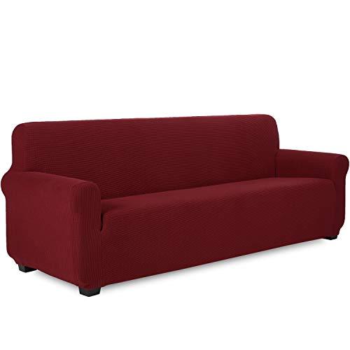TIANSHU Funda de sofá 4 plazas Tejido Jacquard de poliéster y Elastano Fundas de sofá Suaves duraderas(4 plazas,Burdeos)