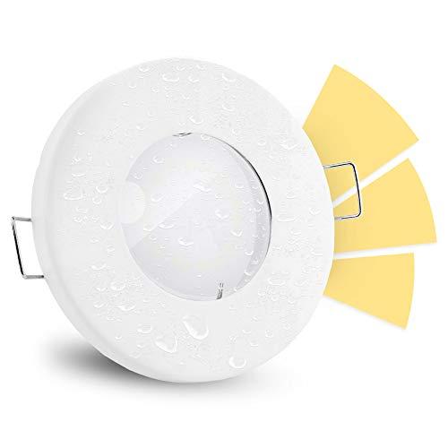 linovum® fourSTEP Einbauleuchte LED Bad flach dimmbar ohne Dimmer - LED GU10 5W warmweiß 230V - matt weißer Deckenspot IP65