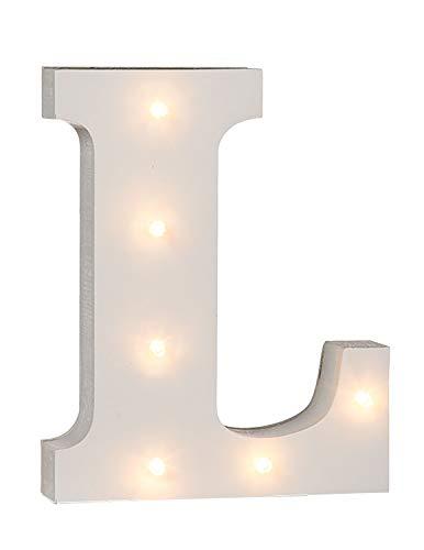 "Out of the Blue 57/6085 - Holz Buchstabe ""L"" beleuchtet mit 6 LED Lichtern, batteriebetrieben, ca. 16 cm"
