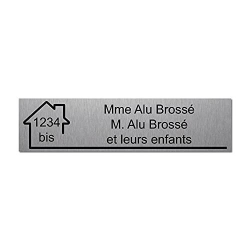 Mygoodprice Plaque gravée pour nom et numéro boîte aux Lettres autocollante 10x2,5cm personnalisée 1 à 3 Lignes Alu Brossé