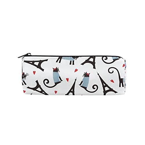 HaJie Estuche para lápices con diseño de corazón y gato, torre Eiffel con cremallera, organizador para niñas, niños, mujeres, hombres