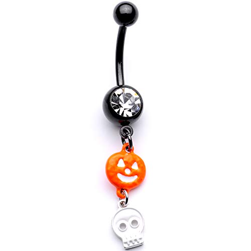 Body Candy 14G Anodized Steel Orange Pumpkin Skull Dangle Belly Button Ring