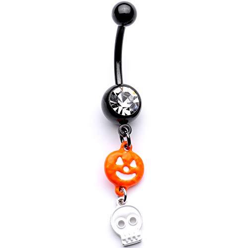 Body Candy 14G Anodized Steel Orange Pumpkin Skull Dangle Belly Button Ring