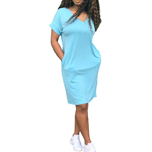 2021 New Women's Tops Dress Casual Loose Plus Size Fashion O-Neck Solid Short Dress