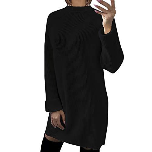 Xiangdanful Damen Pullover Winter Casual Long Sleeve Loose Strickpullover Sweater Top Outwear Lang Gestrickter O-Ausschnitt Langarm PulloverKleid...