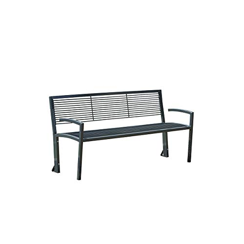 Sitzbank aus Stahl - in Grauguss-Optik - LxBxH 1500 x 555 x 780 mm - Bank Bank aus Holz Metall Kunststoff Holzbank Metallbank Metallbänke Parkbank Parkbank aus Drahtgitter Parkbänke aus Drahtgitter