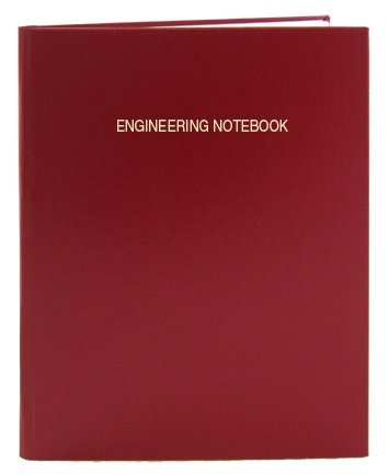"BookFactory Red Engineering Notebook - 96 Pages (.25"" Engineering Grid Format) 8 7/8"" x 11 1/4"" Engineering Lab Notebook Red Cover Smyth Sewn Hardbound (EPRIL-096-LGS-A-LRT4)"