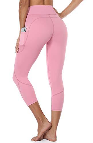 Anwell Tummy Control Workout Leggings Frauen Tights 3/4 Jogginghose High Waist Yogahose Bauchweg Mit Taschen Rot M