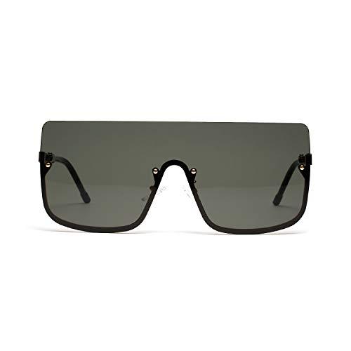Jihufwejf Sportsonnenbrille Retro Halbrahmenbrille Gezeiten männliche Hip-Hop-Sonnenbrille weibliche große Kasten-Sonnenbrille (Color : Dark Green)
