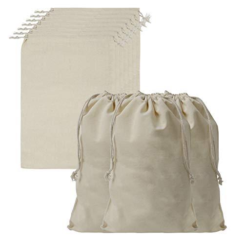BELLE VOUS Sac Cordon Coton Mousseline (Lot de 10) - Pochon Tissu de L 30 x l 20 cm - Sac Legumes Reutilisable en Toile Végétale, Biodégradable et Écologique