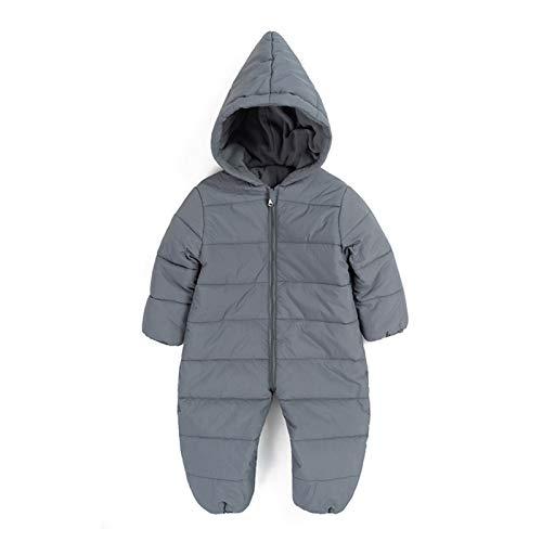 Baby Kapuze Strampler Outfits Overall Leichte Jumpsuit Herbst Winter Warme Schneeanzug Onesies Geschenk für Jungen Mädchen 18-24 Monate Grau