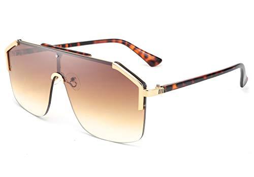 FEISEDY Gafas de Sol Cuadradas sin Montura con Estilo de Gran Tamaño de Una Pieza Gafas de Sol Grande Hombre Mujer B2634