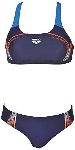 arena Damen Sport Bikini Modular (Schnelltrocknend, UV-Schutz UPF 50+, Chlor-/Salzwasserbeständig), Navy-Mango (703), 34