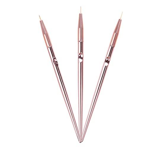 HEALLILY Juego de 3 Pinceles para Pintar Uñas Pinceles para Revestimiento de Uñas Herramientas Profesionales de Arte de Uñas para Salón de Uñas DIY en Casa (Oro Rosa)