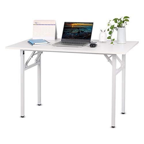 Beliwin Escritorio portátil plegable de una sola capa para ordenador/portátil/ordenador portátil, compacto, simple, pequeño estudio, rectangular, para el hogar/oficina (blanco, 120 x 60 x 75 cm)