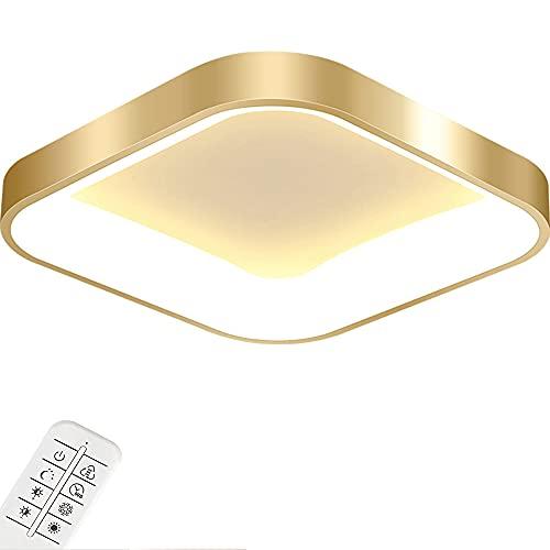 36W LED Luz de techo regulable con control remoto Dorado Sencillez moderna Lámpara de techo Lámpara de dormitorio Cuadrado Ultrathin Hierro/Acrílico Sala de estar Luz 60 * 60 * 10cm