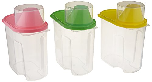 Basicwise Small - Free Plastic Food Saver, Kitchen Food Cereal Storage Containers with Graduated Cap