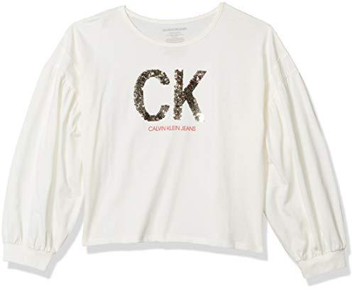 Calvin Klein Big Girls' Calvin Long Sleeve Graphic Tee, Cream Puff, L12/14