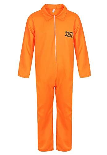 jutrisujo Geflüchteter Gefangener Kostüm Overall Herren Gefangenenkostüm Orange Halloween Cosplay s