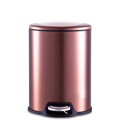 CJH Bote de Basura Bote de Basura Silencioso de Acero Inoxidable Hogar Sala de Estar Dormitorio Cocina Baño Oficina Tipo de Pedal Cubierto (Color: Dorado Tamaño: 5L),5L-Marrón