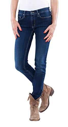 Saphira Blue - Designer Jeans Hosen Skinny mit Swarovski® Crystals Buttons und Nieten (W25/32) Hose
