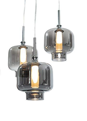anTes interieur Hängeleuchte Vitrea chrom inkl. LEDs Glas mehrflammig (Pendelleuchte Hängelampe Deckenlampe Pendellampe Deckenleuchte)