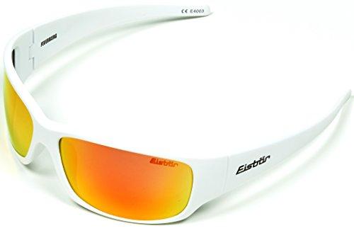 Eisbär Eyewear - Zonnebril Brandberg voor dames en heren | Polariserend, ontspiegeld & onbreekbaar | UV-bescherming 400 | Wit & Rood | Incl. Hardcase opslag