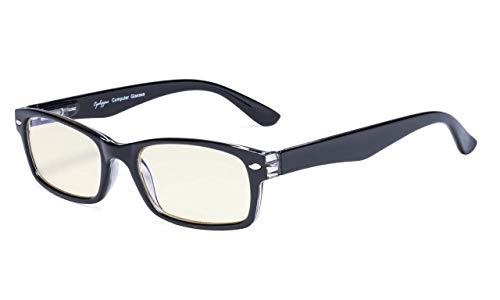 Eyekepper Computer-Lesebrille mit Federscharniere Bügle in UV-Schutz, Anti-Blau-Strahlen Blendschutz und kratzfest Gläser (Gelb getönte Gläser, Schwarz Fassung)+2.75