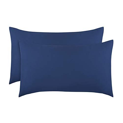 """Everyday Kids 2-Pack Toddler Travel Pillowcases -100% Soft Breathable Microfiber - 14"""" by 20"""" Kids Pillowcases fits Pillows 14x19, 13x18 or 12x16, Solid Navy."""