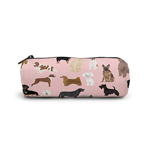 Pencil Case Hunde Pink Cute Dog Beste Hunderasse Muster Hund Hund Design Sweet Dogs Pen Briefpapier Beutel Bag Kosmetik Schminktasche Kulturbeutel Zylinder Kosmetiktasche für Student Office College