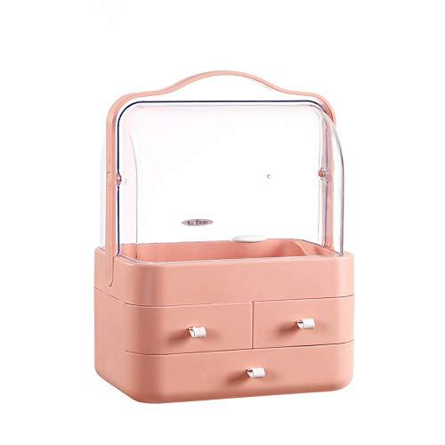 ZHHAOXINCO Classique Organisateur de Maquillage Présentoir Cosmétique Vanity de Grande Capacité pour Bijoux, Pinceaux de Maquillage, Rouges à Lèvres Cadeau, Orange