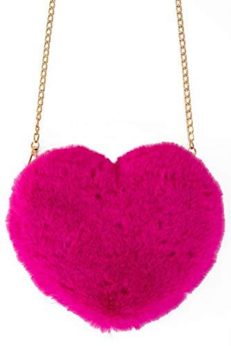 shoperama Herz Kunstfell Handtasche 20x25cm Plüsch Tasche Party Schultertasche Karneval, Farbe:Pink