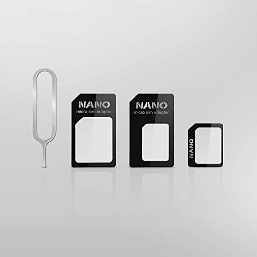 Cable Technologies - Kit de adaptadores de tarjeta SIM para todos los smartphones y tabletas, 4 en 1 + extractor, Nano Sim-Nano Sim Adapter-Nano Micro SIM Adapter