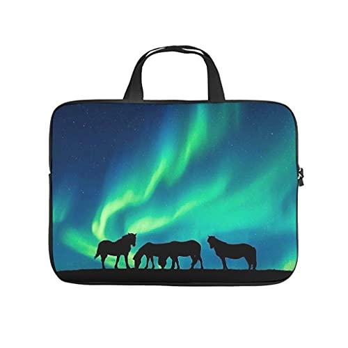 Facbalaign Bolsa para portátil con diseño de caballo de luz del norte, resistente a los arañazos, con asa.